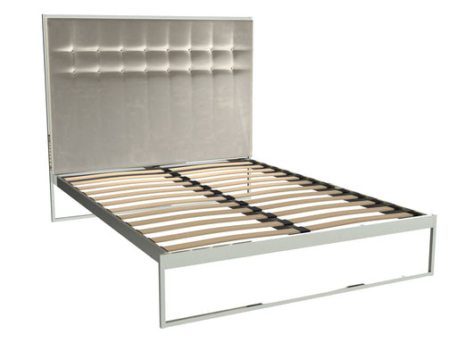 Polished Chrome King Size Bed Frame with Silver Headboard
