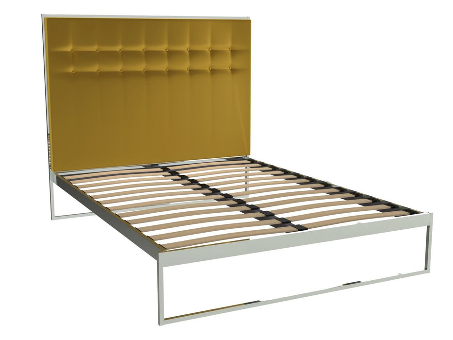 Polished Chrome King Size Bed Frame with Yellow Headboard