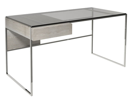 Polished Chrome Weathered Oak Desk