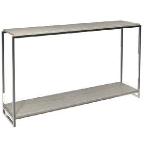 Polished Chrome Weathered Oak Narrow Console Table