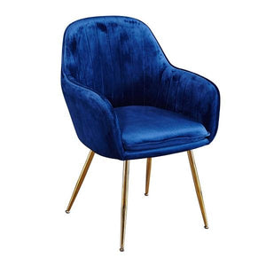 Royal Blue Lara Dining Chair With Gold Legs (Pack Of 2 )
