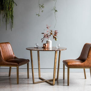 Brown And Gold Round Dining Table