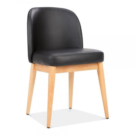 Black Faux Leather Upholstered Wooden Dining Chair