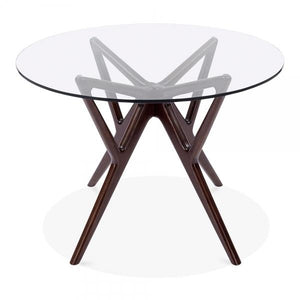 Dark Brown Solid Beech Wood Glass Top Dining Table