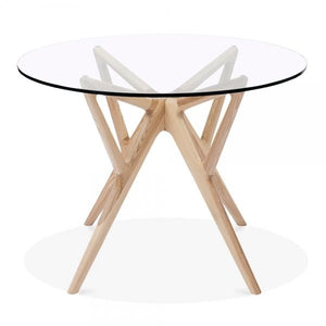 Natural Solid Ash Wood Glass Top Dining Table
