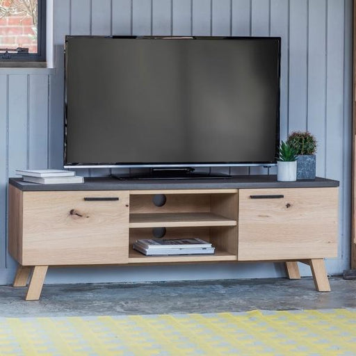 Oak And Concrete TV Unit