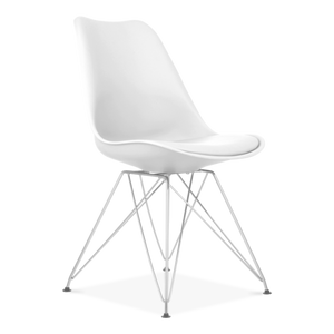 White Eiffel Metal Legs Dining Chair