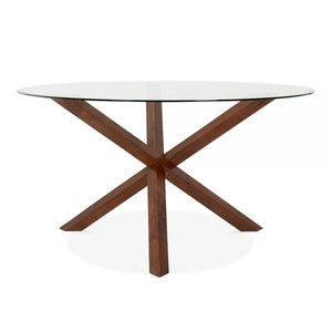 Walnut Glass Top Wooden Dining Table