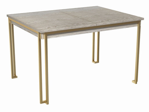 Weathered Oak & Brass Extending Dining Table