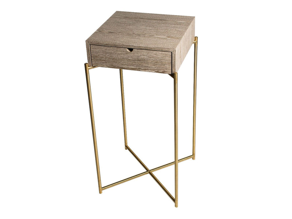 Weathered Oak Brass Frame Gillmore Square Plant Stand