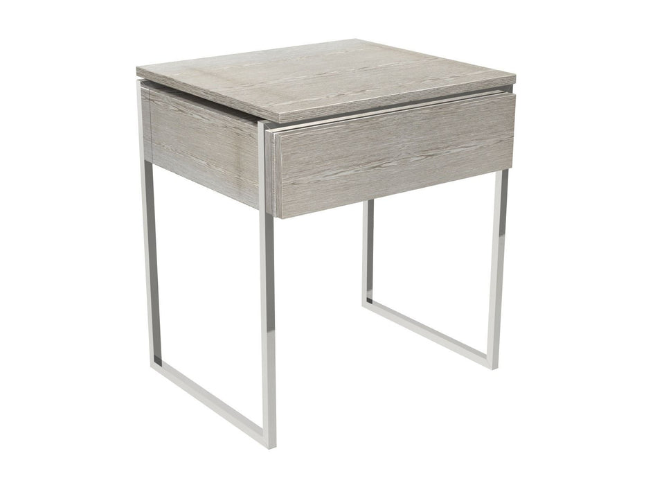 Weathered Oak Veneer Side table with Chrome Legs