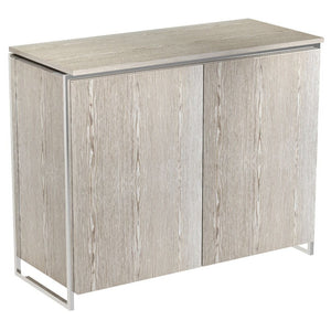 Weathered Oak Veneer Two Door Sideboard with Chrome Detail
