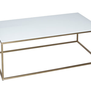 White & Brass Gillmore Rectangular Coffee Table