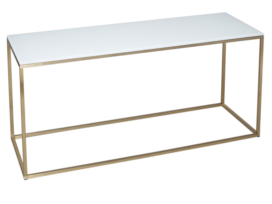 White & Brass Gillmore TV Stand