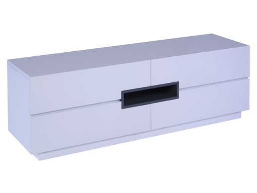 White Gillmore Low TV Sideboard with Graphite Accent