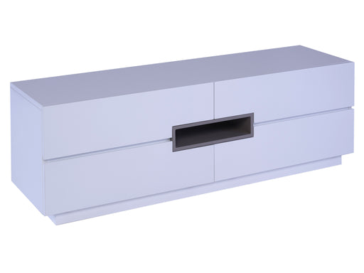 White Gillmore Low TV Sideboard with Stone Accent