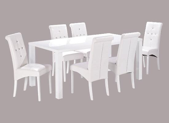 White Large Monroe Diamante Dining Table
