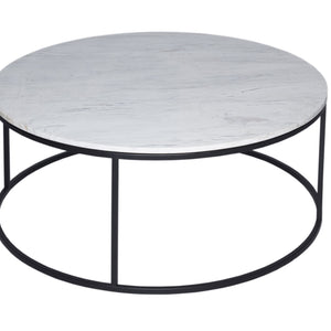 White Marble & Black Gillmore Circular Coffee Table