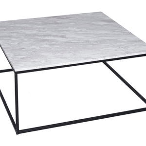 White Marble & Black Gillmore Square Coffee Table