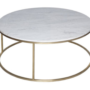 White Marble & Brass Gillmore Circular Coffee Table