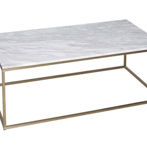 White Marble & Brass Gillmore Rectangular Coffee Table