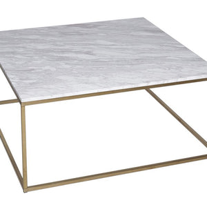 White Marble & Brass Gillmore Square Coffee Table