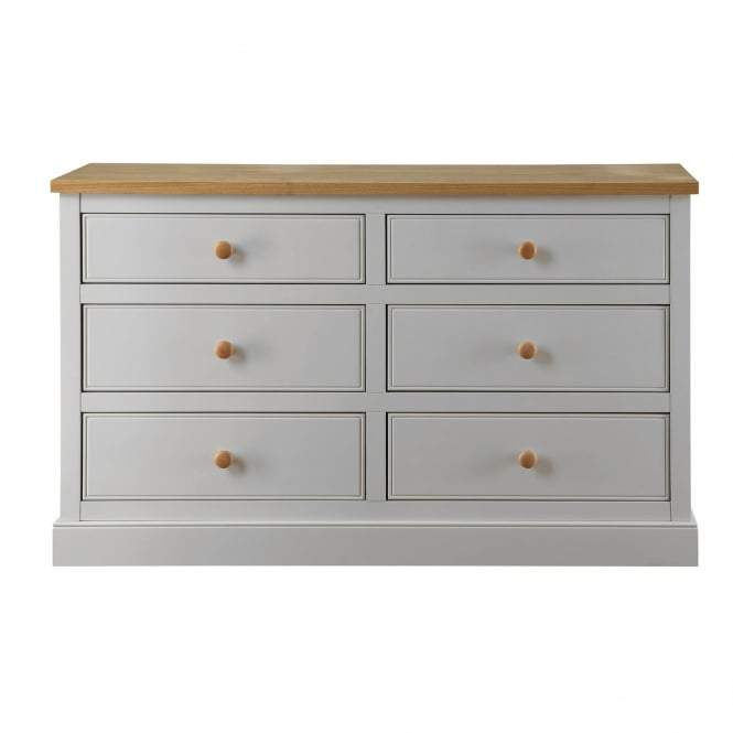 White St Ives Wide 6 Drawer Chest