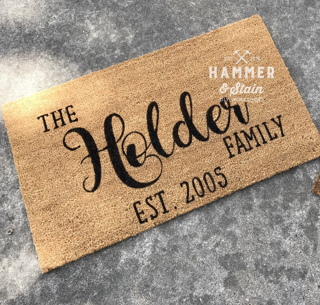 Personalized Doormat Hammer Amp Stain