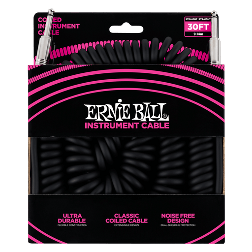 ERNIE BALL 30' COILED STRAIGHT / STRAIGHT INSTRUMENT CABLE - BLACK