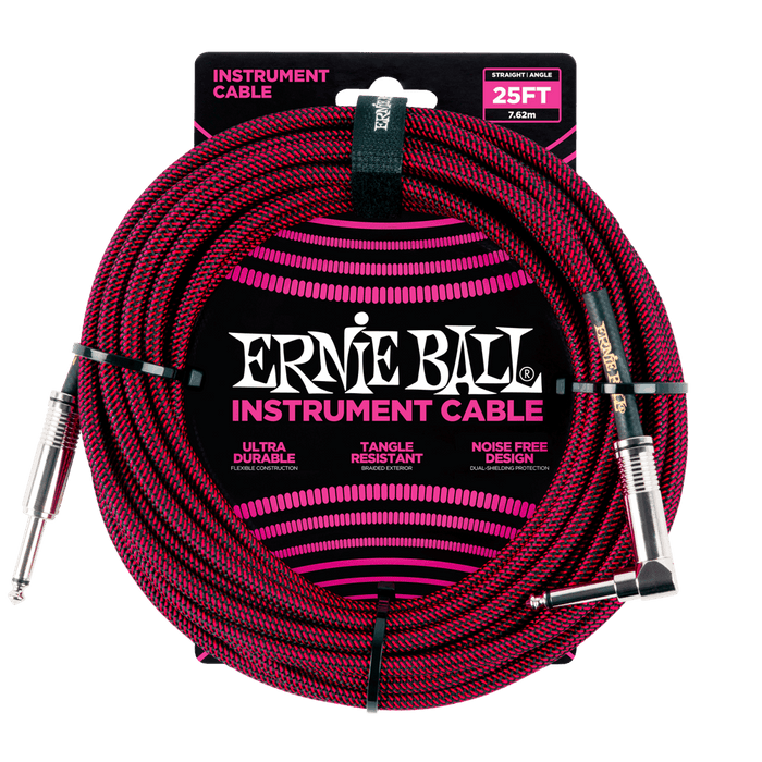 ERNIE BALL 25' BRAIDED STRAIGHT / ANGLE INSTRUMENT CABLE Red/Black