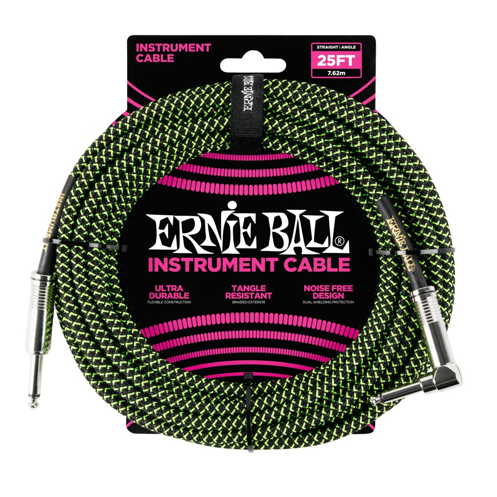 ERNIE BALL 25' BRAIDED STRAIGHT / ANGLE INSTRUMENT CABLE Green/Black