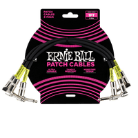 ERNIE BALL 1' ANGLE / ANGLE PATCH CABLE 3-PACK - BLACK