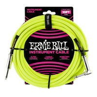 ERNIE BALL 10' BRAIDED STRAIGHT / ANGLE INSTRUMENT CABLE - Neon Green