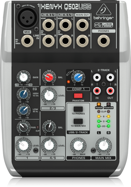 XENYX Q502USB Premium 5-Input 2-Bus Mixer with XENYX Mic Preamp & Compressor, British EQ and USB/Audio Interface