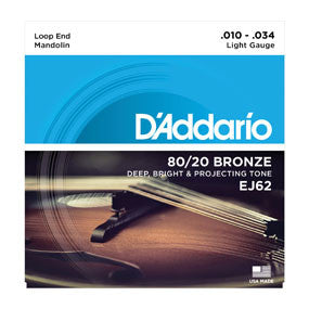 EJ62 80/20 Bronze Mandolin Strings, Light, 10-34