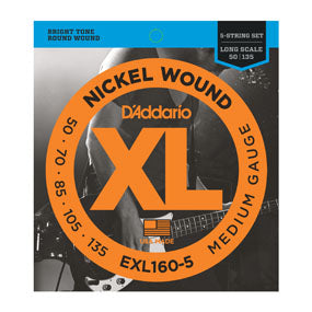 D'addario EXL160-5 Nickel Wound 5-String Bass, Medium, 50-135, Long Scale