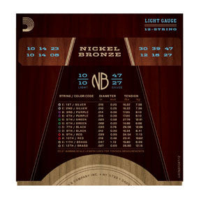 NB1047-12 Nickel Bronze Acoustic Guitar Strings, Light 12-String, 10-47