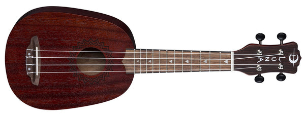 LUNA  Uke Vintage Mahogany Pineapple - Red Satin