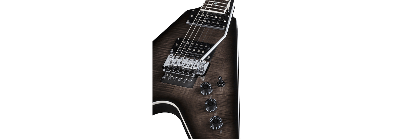 DEAN  V 79 FLOYD FLAME TOP - TRANS BLACK