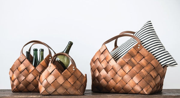 Woven Basket with Leather Handles (More Size Options)