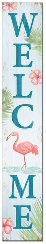 Welcome Flamingo Porch Board Sign