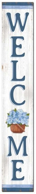 Welcome Flower Basket Porch Board Sign