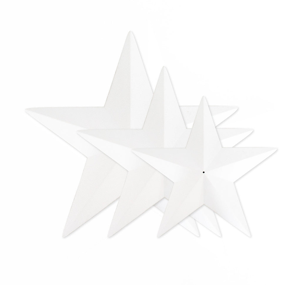 Set of 3 white stars