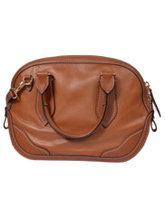 BROWN GRAINED LEATHER BAG