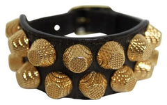 2 ROW GIAN STUD ARENA LEATHER BRACELET