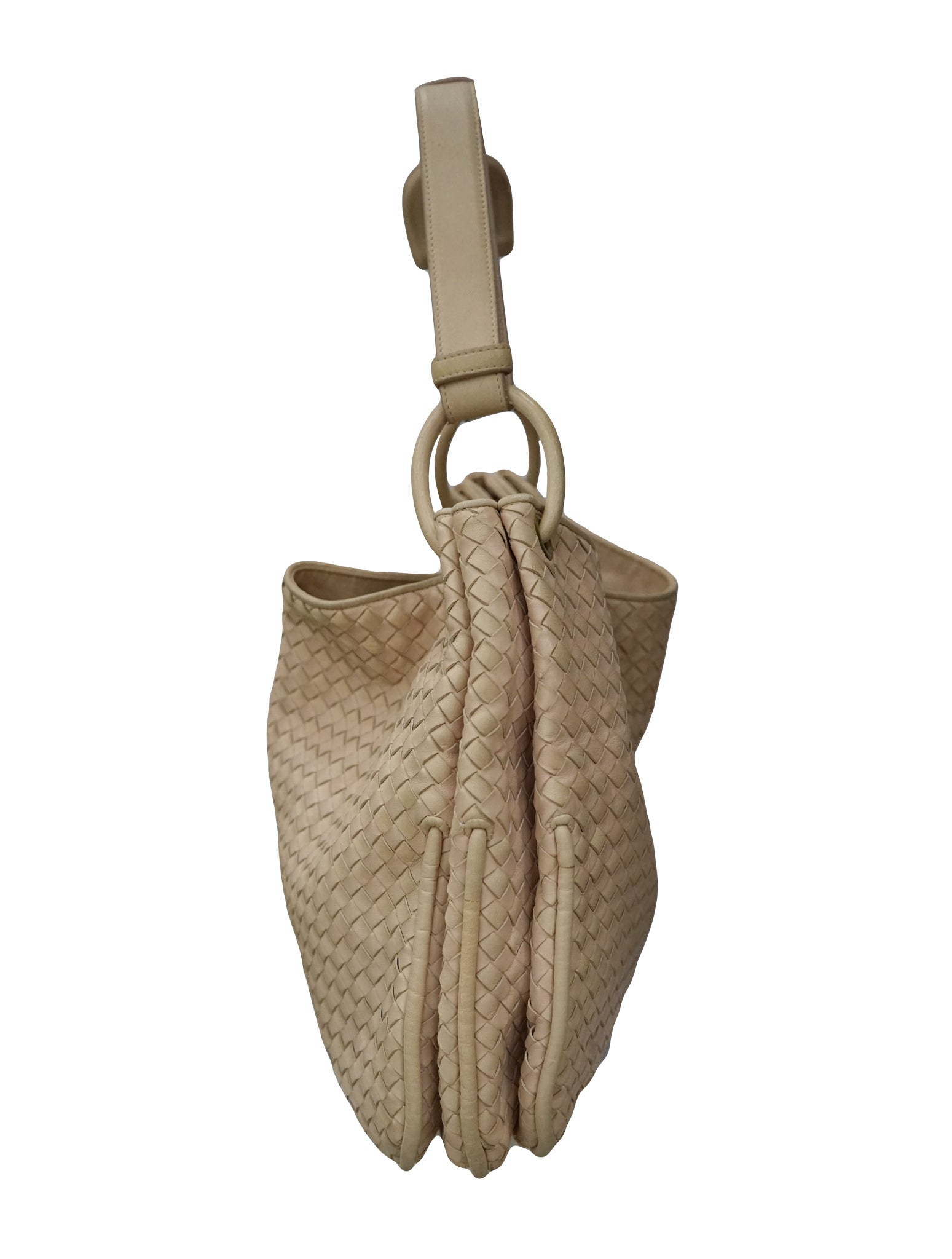 LIGHT PINK INTRECCIATO WOVEN NAPPA LEATHER TOTE BAG
