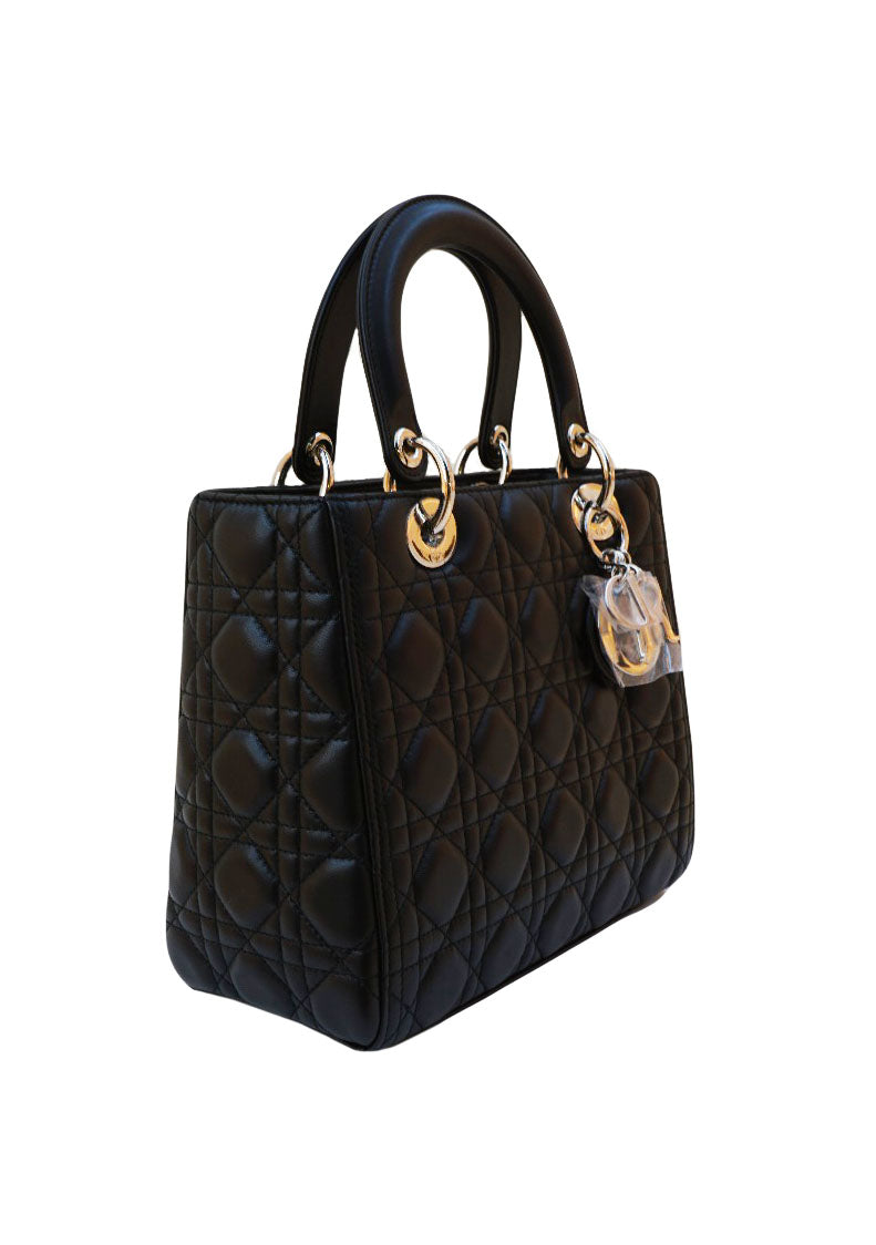 BLACK LAMBSKIN CANNAGE LEATHER MEDIUM LADY DIOR