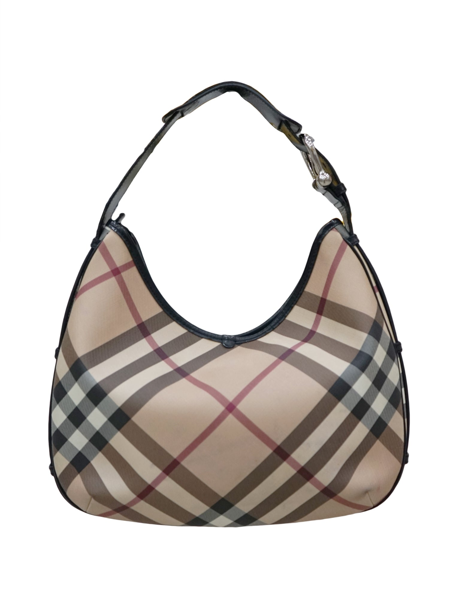 NOVA CHECK COATED CANVAS MEDIUM HOBO BAG