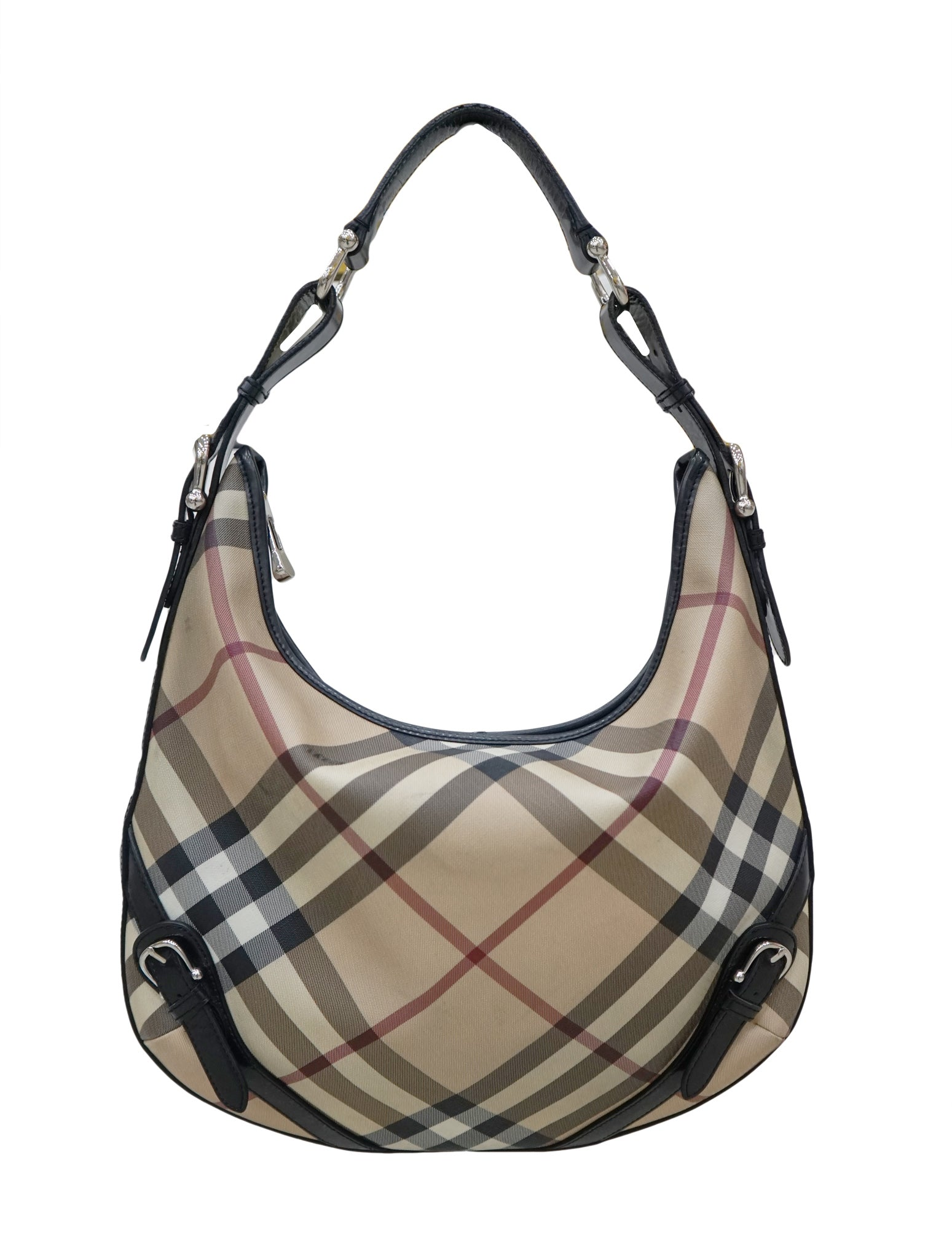 BEIGE NOVA CHECK PVC HOBO BAG