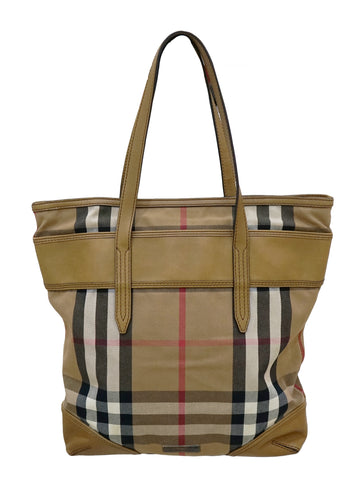 CHECK FABRIC & LEATHER TOTE BAG